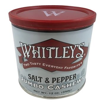 Whitley's Salt & Pepper Jumbo Cashews 12 Oz Tin