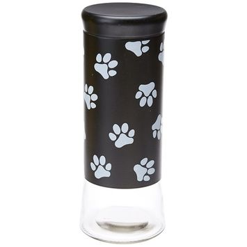 Housewares International 11-1/2-Inch Glass Pet Treats and Snacks Storage Jar, Black Background