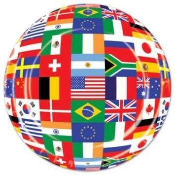International Flags Lunch Dinner Plates 9 Inch (8/pkg) Pkg/1