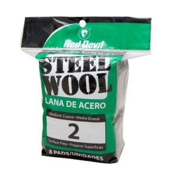 Red Devil 0325 Steel Wool, 2 Medium Course, 8 Pads [2 Medium Course]