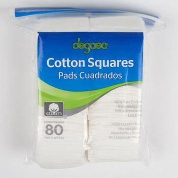 COTTON SQUARES 80CT 100% COTTON RESEALABLE POLY BAG, Case Pack of 24