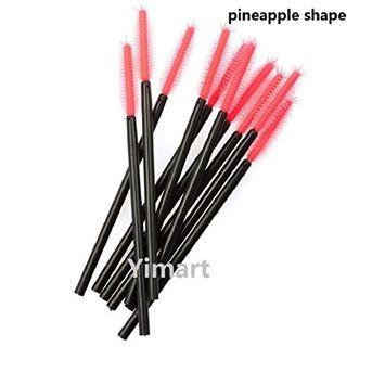 Yimart 100pcs Disposable Black Handle Silicone Head Pineapple Shape Eyelash Brush Mascara Applicator Wand