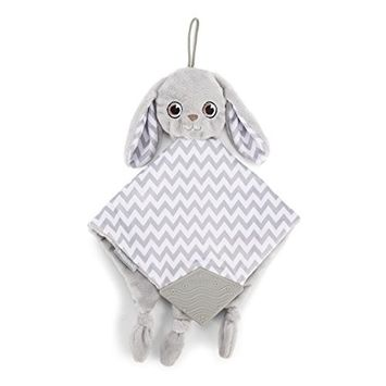BooginHead Baby Newborn Plush, Lovey, Stuffed Animal, Pacifier Clip, Toy, Teether, Teething, Soothie, Girl, Boy, Bunny, Gray