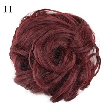 CYCTECH New Popular Women Curly Messy Bun Scrunchie Hair Weave Wig Short Extensions Hair Synthetic Hairpieces Hairdressing (MulticolorH)