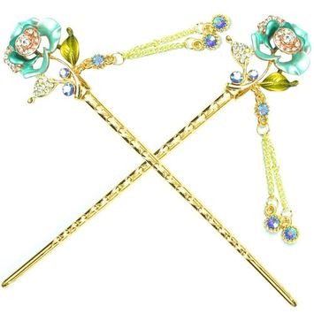 YOY Fashion Hair Decor Chinese Traditional Style Hair Sticks Shawl Pins Picks Pics Forks for Women Girls Hair Accessory 6-inch with Enamel Flower Set of 2, Green