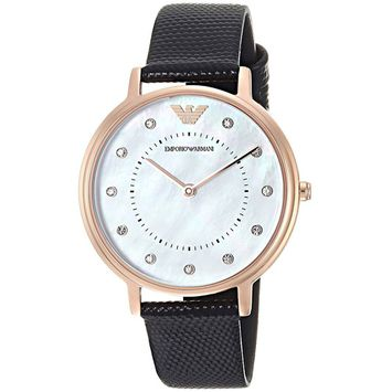 Emporio Armani Women's 'Dress' Quartz Rose Gold Steel and Leather Casual Watch AR80011