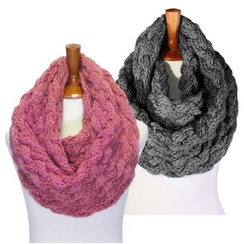 Basico - Basico Winter Chunky Knitted Infinity Scarf Circle Loop 2pk Various Colors (SF1602) [name: actual_color value: actual_color-d.rose&c.gray]