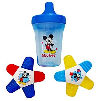 Mickey Mouse Water-Filled Teether (2 Pack), 1 Mickey Mouse Spill-Proof Cup. Plus Free Bonus 1 Pack of Disposable Baby Bib.