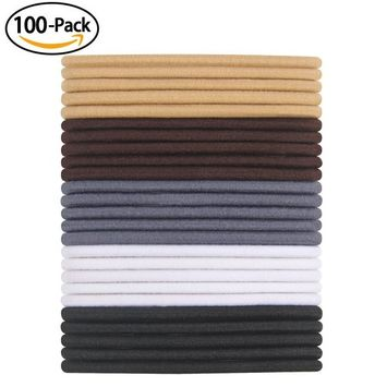 100 Pieces Elastic Hair Bands for Thick and Curly Hair 4mm No Metal Hair ties Muticolor
