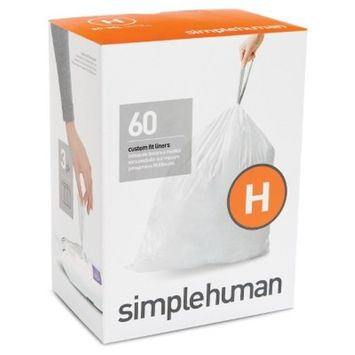 simplehuman Code H Custom Fit Liners, Drawstring Trash Bags, 30-35 Liter/8-9 Gallon, 3 Refill Packs (60 Count)