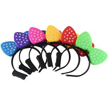 UNISHOW® LED Flashing Light up Bow Hair Band Headband Bowknot Head Bopper for Rave Birthday Party Halloween Custom Holiday Multicolors Ship Randomly (12, E-bowknot)