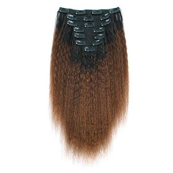 AmazingBeauty 8A Kinkys Straight Blow Out Ombre Remy Extensions Clip ins Double Weft Real Human Hair for Black Women, Natural Black Fading into Chocolate Brown, 7 Pieces, 115 Grams, KS TN/4, 18 Inch