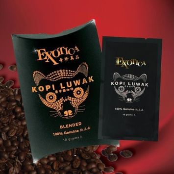 The World's Most Exclusive Coffee, Kopi Luwak Specialty Arabica House Blend Ground Gourmet Coffee (10g sachet)
