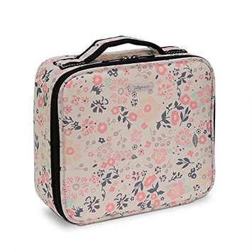 Joligrace Makeup Train Case Cosmetic Bag Professional Make Up Storage Box Travel Organizer with Removable Dividers & Brush Section for Women Girls