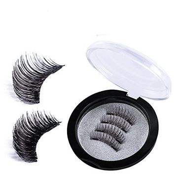Magnetic False Eyelashes No Glue Fake Eyelashes Extensions 3D Reusable Natural Look, 4 Pieces/ set Lashes Set with Beautiful Case, Dual Magnets, for Deep Eyes Round Eyes, Ultra Lightweight & Long