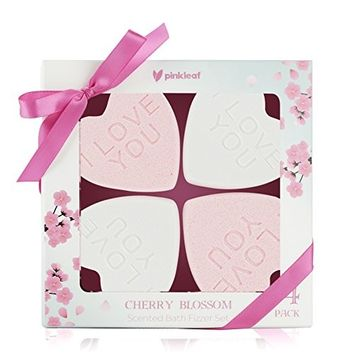Cherry Blossom Scented Bath Bomb Gift Set for Women & Girls – Individually Wrapped Aromatherapy Fizzer Hearts 4pc Pack – Fizzy, Fun, Fabulous Fragrance for Her