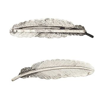 Lux Accessories Boho Casted Burnished Silvertone Two Feather Hair Clips Set 2PCS