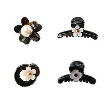 Joyci 4Pcs Women's Pearl Flower Hair Pin Princess Hair Clips Party Hair Accessory