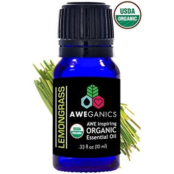 Aweganics Pure Lemongrass Oil USDA Organic Essential Oils, 100% Pure Natural Premium Therapeutic Grade, Best Aromatherapy Scented-Oils for Diffuser, Home, Office, Women, Men - 10 ML - MSRP $14.99