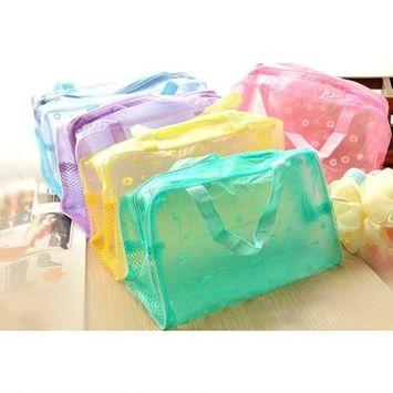 Jdbuy Multipurpose Floral Crystal Comestic Makeup Beauty Storage Travelling Bath Bag (Yellow)