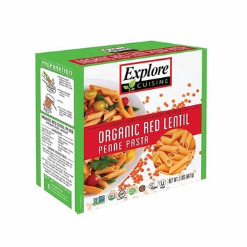 Explore Cuisine Organic Red Lentil Penne - 2 lb - All Natural High Protein, Gluten Free Plant Based Pasta - USDA Certified Organic, Vegan, Kosher, Non GMO - 4 Servings