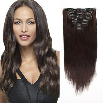 AmazingBeauty 8A Real Remy Human Clip Hair Extensions Full Head Silky Straight 120g Color #27 Strawberry Blonde/Honey Blonde/Caramel Blonde 18 Inch for Fine Hair