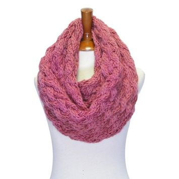 Basico - Basico Winter Chunky Knitted Infinity Scarf Circle Loop Various Colors (SF1602) [name: actual_color value: actual_color-d.rose]