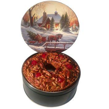 Jane Parker Classic Light Fruitcake Fruit Cake 48 ounce Ring (3 Lbs.) in Decorative Tin Fruitcake