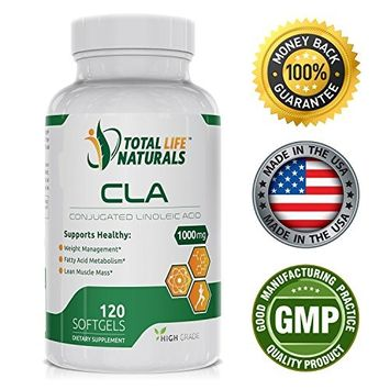 Total Life Naturals PREMIUM Conjugated Linoleic Acid CLA Complex 1000mg Safflower Oil Supplement, Natural Fat Burner And Weight Loss Softgels for Men and Women