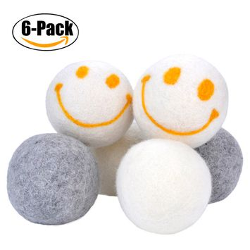 Wool Dryer Balls, Coxeer 6 Pcs Wool Balls Anti-Static Cling Reusable Wool Felt Balls for Home