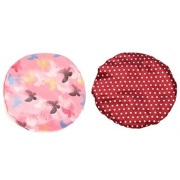 Chige 2 Pack Fashion Women Waterproof Shower cap, Reusable Elastic Double Layer Spa Bathing Hat Ideal Choice for Showering