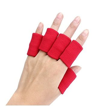 Finger Guard Sleeves - SODIAL(R)Portable 10pcs Stretch Sports Basketball Finger Guard Support Sleeves Protector red