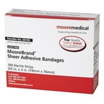 MooreBrand Adhesive Bandages, Sheer Plastic, 3/4 x 3 Inch - Box of 100