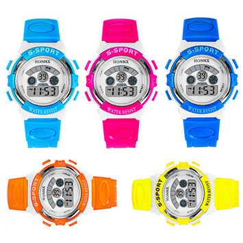 Girl12Queen Kids Children Digital Watch Rubber Sport Multi-functional Date Alarm Wrist Watch