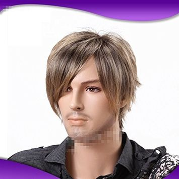B-G Fashion Men's Short Straight Layered Wig Side Swept Fringe Hairstyle High Heat Resistant Wigs Human Hair Wigs Natural Looking Wigs + 1 Free Wig Cap WIG080