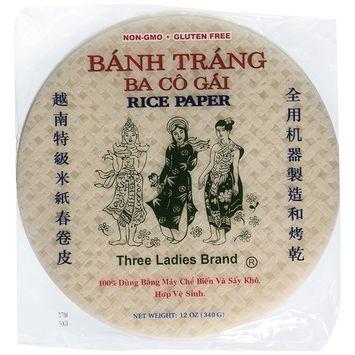 Three Ladies Spring Roll Rice Paper Wrappers Round 25cm (3pks)