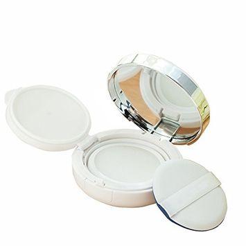 Selfcommand Empty Refillable Circular Powder Puff Box Portable Magic Cushion Make-up Powder Container Holder With Mirror for DIY BB/CC Cream Liquid Foundation (White)
