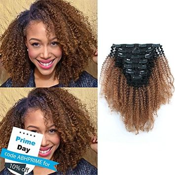 AmazingBeauty 3C 4A Big Afro Curly Ombre Hair Extensions Double Weft Real Remy Human Hair for African American, Two Tone Clip In Hair Extensions, Natural Black Fading into Light Auburn TN30, 14 Inch