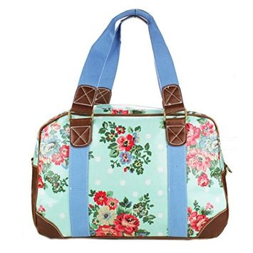 Womens Rose Flower and Polka Dot Travel Weekend Bag