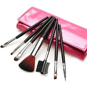 7pcs Makeup Brushes Sets Foundation Eyeshadow Brusher Brush + Leather Case (Rose Red) by Broadfashion