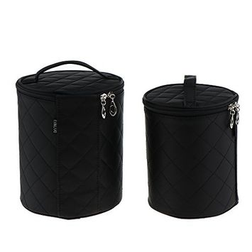 Homyl 2 Pieces Waterproof Multifunction Round Black Cosmetic Tools Makeup Cup Bucket Barrel Bag Toiletry Storage Organizer Pouch Case