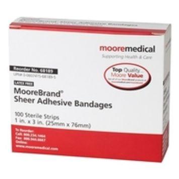 MooreBrand Antibacterial Sheer Plastic Adhesive Bandages, 1 x 3 Inch - Box of 100