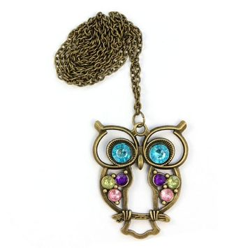 Doinshop Lady Crystal Blue Eyed Owl Long Chain Pendant Sweater Coat Necklace