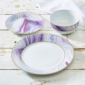 Purple Haze Collection 12-Piece Porcelain Dinnerware Set, Walmart Exclusive