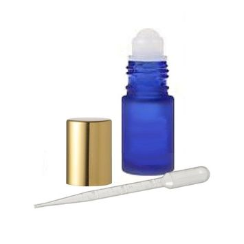 Grand Parfums 18 Glass Roll on Bottles, Cobalt Frosted Blue Glass 4ml, 1/8 Oz with Gold Cap for Fragrance, Aromatherapy, Essential Oils, Lip Gloss/Balm
