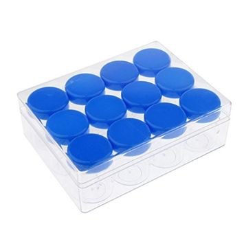 Homyl 12pcs/set 20g Empty Plastic Cosmetic Samples Container for Make Up, Eye Shadow, Nails, Powder, Glitter, Beads, Jewelry, Cream Small Clear Pot Jars with Lid - Blue