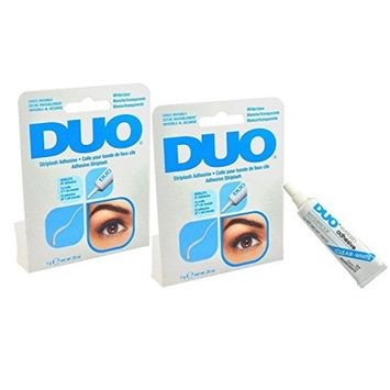 DUO Eyelash Adhesive White/Clear For Strip Lashes Align band with natural lash line. Thim excess if necessary.- Size 0.25oz 7g (Pack 2)