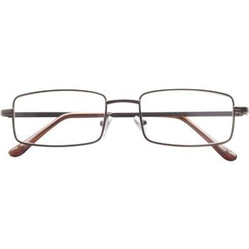 Dr. Dean Edell Basic Metal 3/4 Bronze Eye Rectangle with Brown Plastic Temple Tips and Case, 2.00, 0.200 Ounce [+2.00]