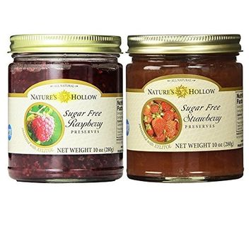 Nature's Hollow, Sugar-Free Jam Preserves Variety Pack - Strawberry and Raspberry 2-Pack, 10 Ounces Each [Variety Pack]