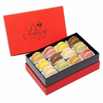 French Almond Macarons Gift Box – 2 pack x 12 pcs – Non GMO, Assorted Macaroons Cookies - Imported From France